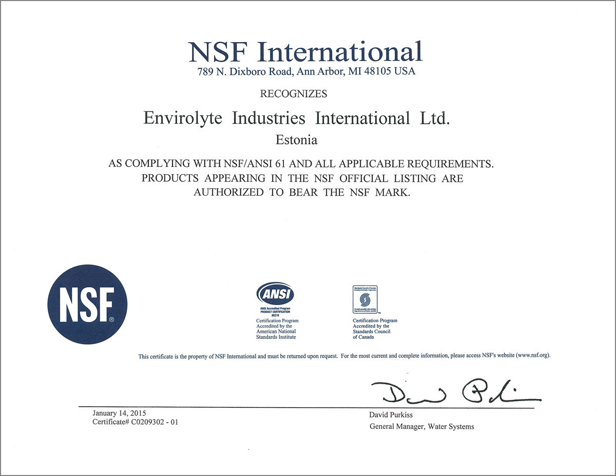 Approvals quality control at envirolyte envirolyte industries envirolyte anolyte generators are qualified as electrolysis system to nsfansi standard 61 drinking water system components health effects certification 1betcityfo Images